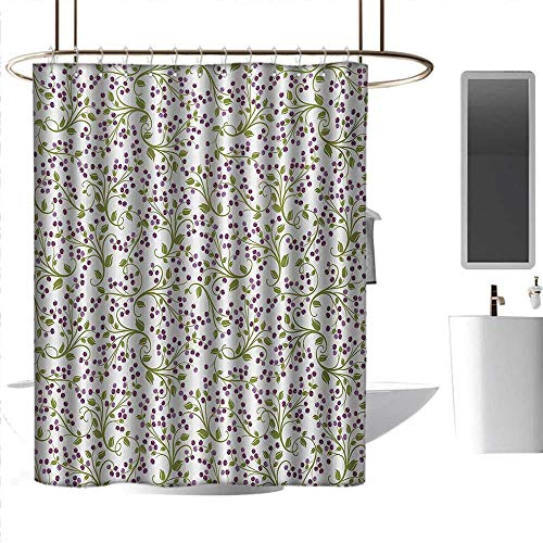 coolteey Shower Curtains Vines Flower,Floral Pattern Wild Berries Ornamental Curvy Branches Foliage Fruits Botanic,Purple Green White,W72 x L84,Shower Curtain for Shower stall ()