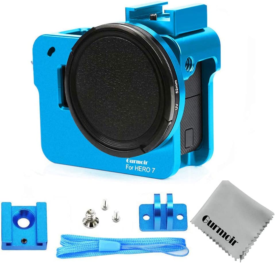 CAOMING Housing Shell CNC Aluminum Alloy Protective Cage with 52mm UV Lens for GoPro Hero 2018 //7 Black //6//5 Durable Color : Blue