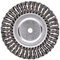 "Weiler Dualife Standard Wire Wheel Brush, Round Hole, Steel, Partial Twist Knotted, 8"" Diameter, 0.023"" Wire Diameter, 5/8"" Arbor, 1-5/8"" Bristle Length, 5/8"" Brush Face Width, 6000 rpm"