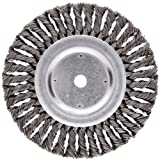Weiler Dualife Standard Wire Wheel Brush, Round Hole, Steel, Partial Twist Knotted, 8'' Diameter, 0.023'' Wire Diameter, 5/8'' Arbor, 1-5/8'' Bristle Length, 5/8'' Brush Face Width, 6000 rpm