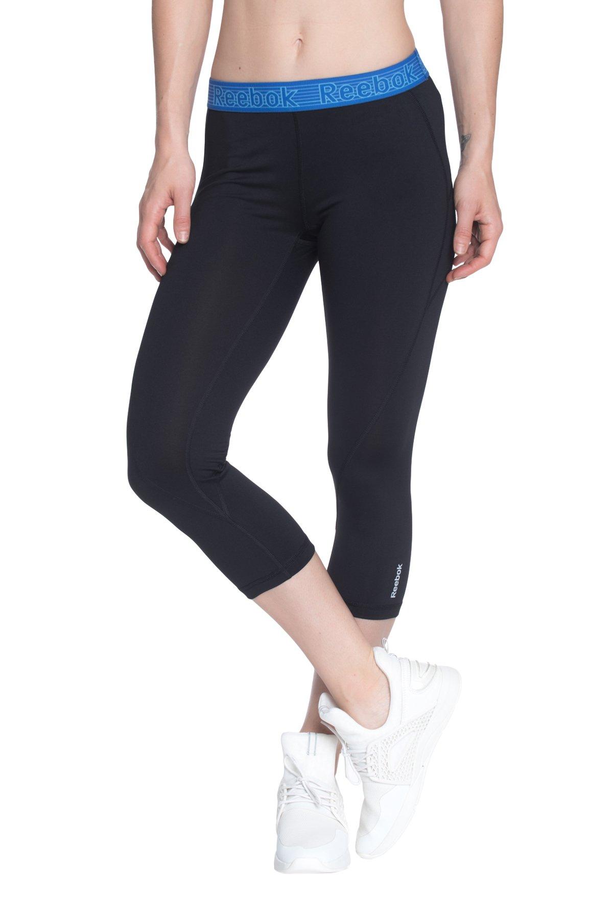 7d181d342de88 Galleon - Reebok Women's Printed Capri Leggings With Mid-Rise Waist  Performance Compression Tights, Black/Dazzling Blue, X-Small