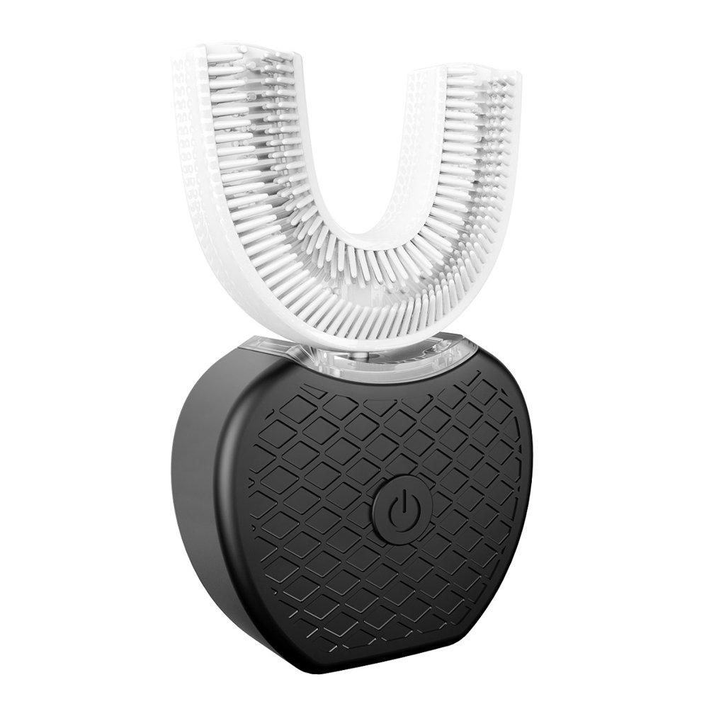 Electric Toothbrush Shouhengda U-shape Automatic Toothbrush Hands Free Whitening 360 °Ultra Sonic Toothbrush U Type Heads (Black)