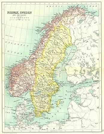 Karte Norwegen Schweden.Skandinavien Norwegen Schweden Und Der Ostsee Millennium 1909