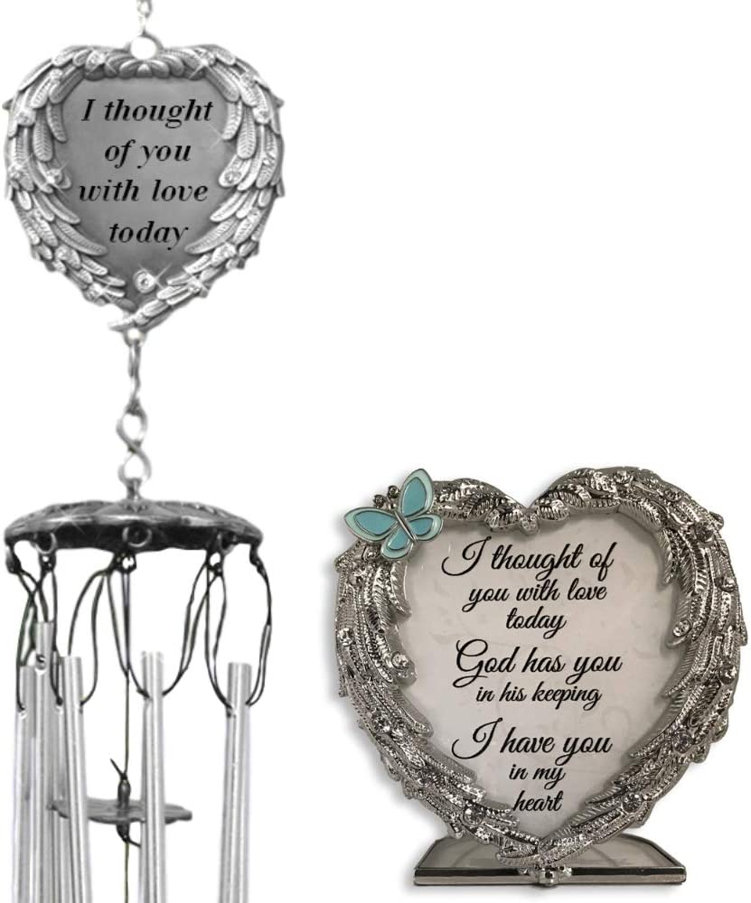 BANBERRY DESIGNS Memorial Wind Chimes and Candle Holder Set - I Thought of You with Love Today Poem - Bereavement Sympathy Condolence in Loving Memory Sentiment