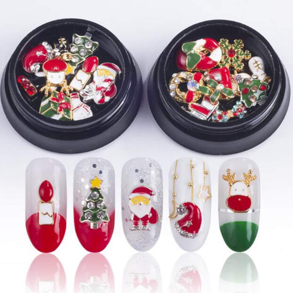 Ujuuu 20 Pcs Christmas 3D Nail Art Glitter Rhinestones Charm Jewelry Alloy Decal Decoration, 2 Box Strong Wish