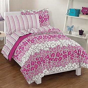Amazon Com 5 Piece Girls Purple Cheetah Print Comforter
