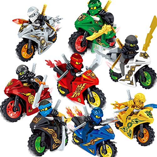 X Hot Popcorn 8 Style Cartoon Motorcycle Blocks Kids Educational Brick Building Sets Toy