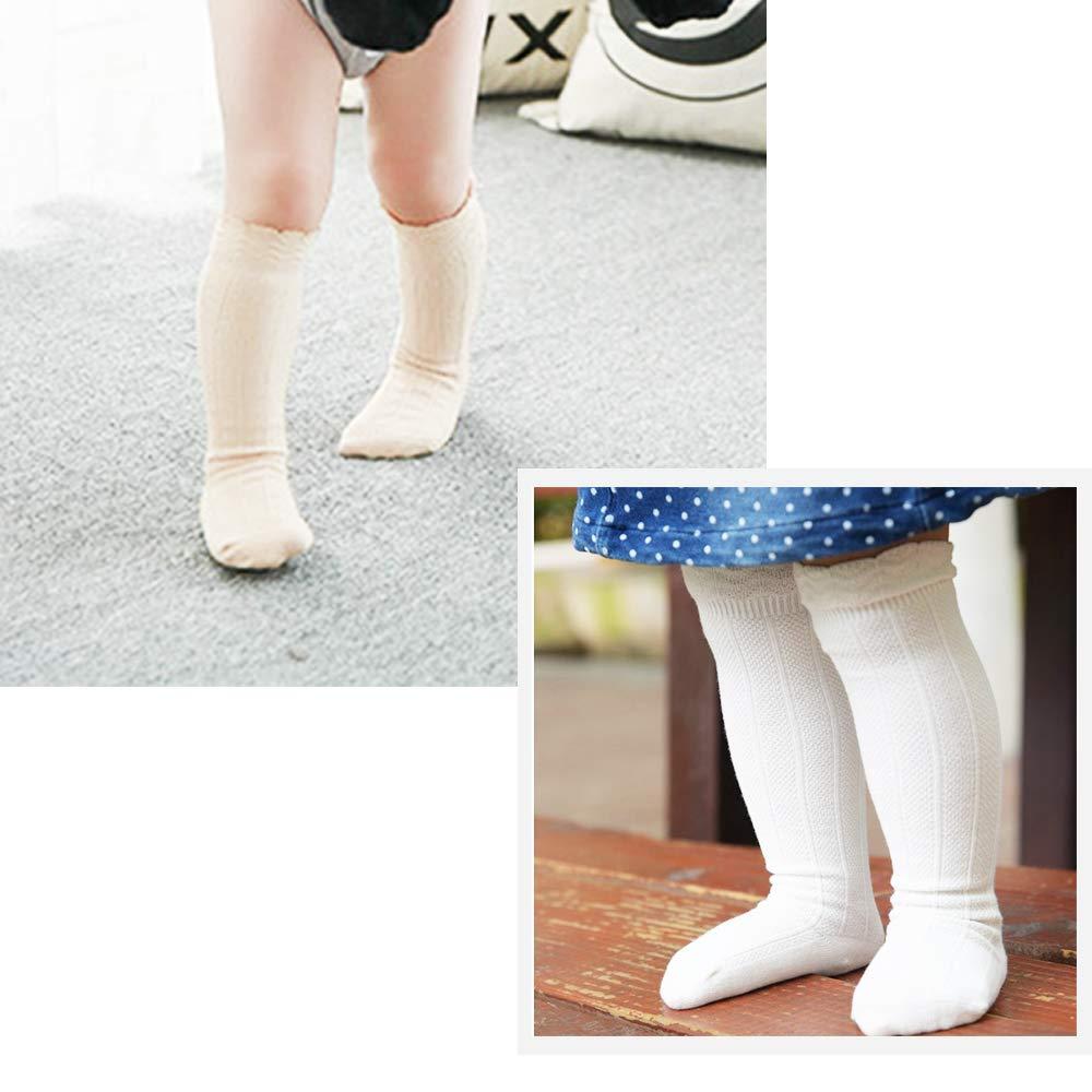 CozyWay Baby Girls Knee High Socks 5 Pack Tube Ruffled Stockings Infants Toddlers