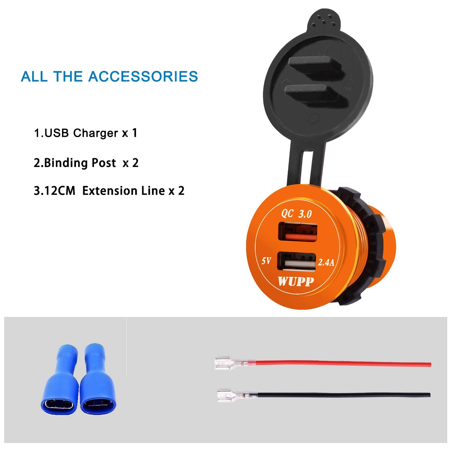 YOZOOE USB Car Dual Charger QC3.0 Quick Charger 30W Aluminum Alloy Waterproof USB Port Charger For Phone GPS Color : Yellow, Style : Blue light