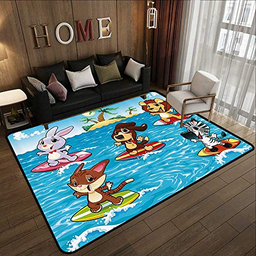 - Kitchen Rugs,Animal Decor,Cute Animals are Surfing in The Sea and Palm Trees Illustration Print,Sky Blue and Brown 47