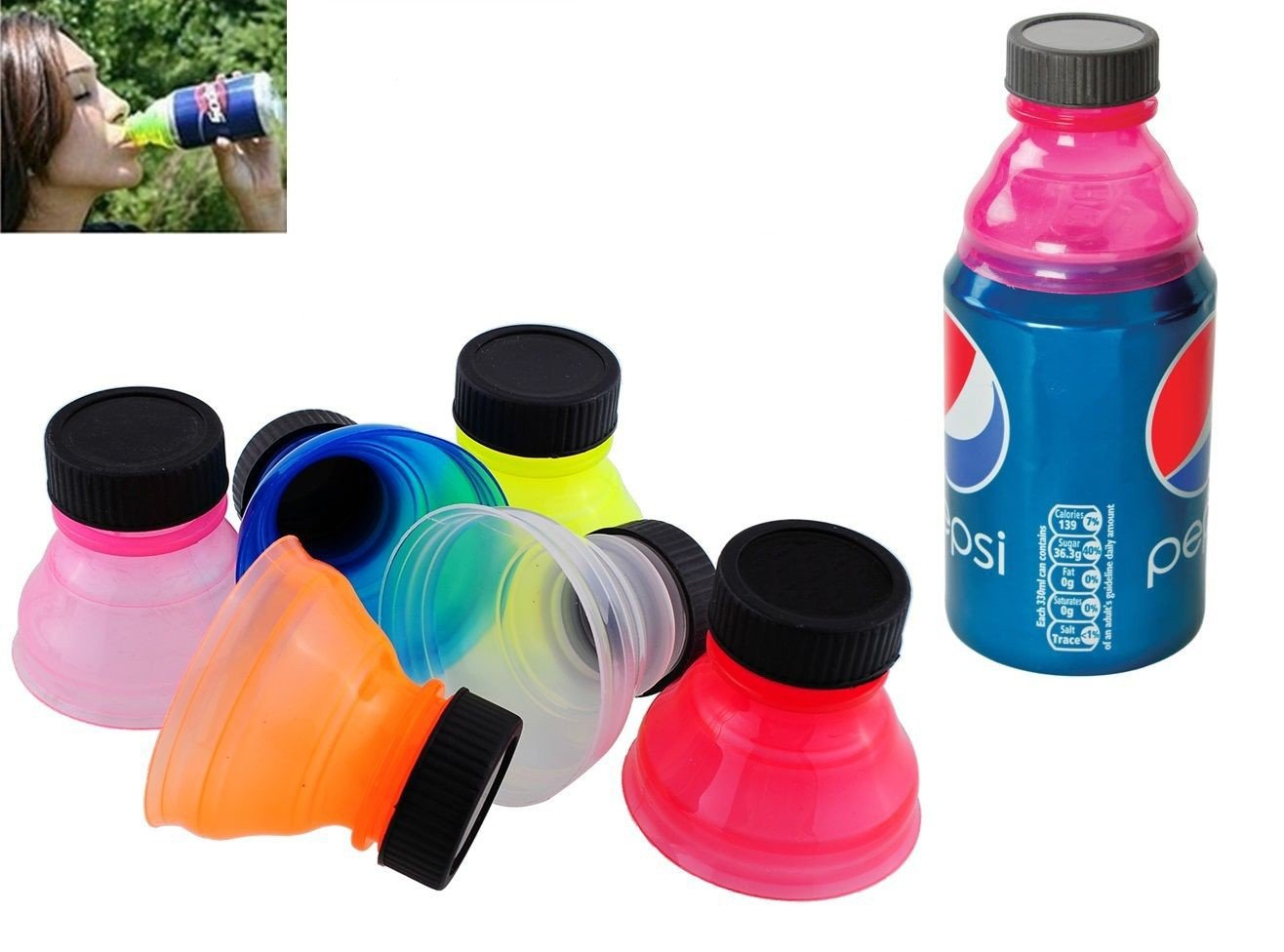 takestop® Set 3 Tappi Tappo in PLASTICA Adattatore Universale per LATTINE Salva EFFERVESCENZA Idea Regalo Gadget Colore Casuale