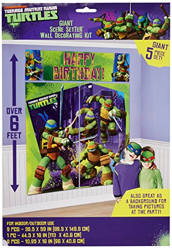 5-Piece Set Teenage Mutant Ninja Turtles Scene Setter, Multicolored - Giant Paper Bag Costume