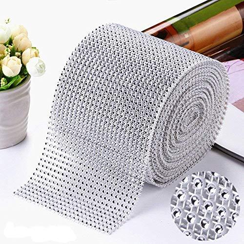 (1 yard/90cm Bling Diamond mesh Wrap Ribbon Silver Rhinestone Mesh Roll Tape Tulle Crystal Ribbon Cake Wedding Decoration)