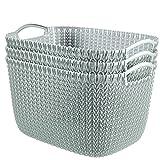 Keter Curver KNIT Style Large Storage Baskets Resin Plastic Rectangular 3-Piece Set, Misty Blue
