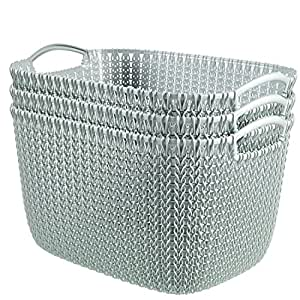 Keter Curver KNIT Style Large Storage Baskets Resin Plastic Rectangular  3 Piece Set, Misty