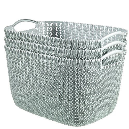 Curver by Keter KNIT Style Large Storage Baskets Resin Plastic Rectangular 3-Piece Set, Misty (Plastic Rectangular Basket)