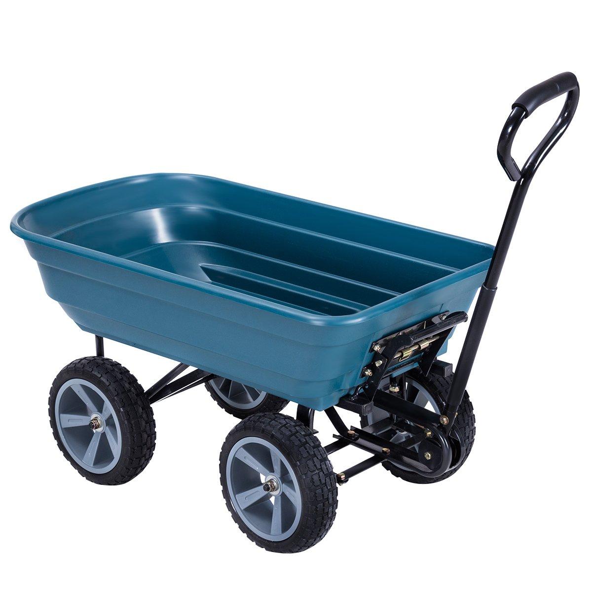 Giantex Heavy-Duty Garden Dump Cart Dumper Wagon Carrier Wheelbarrow Wagon Carrier Air Tires