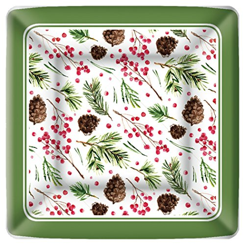 Boston International Square Paper Dinner Plates, 8-Count, 10 x 10-Inches, Pinecone Pattern ()