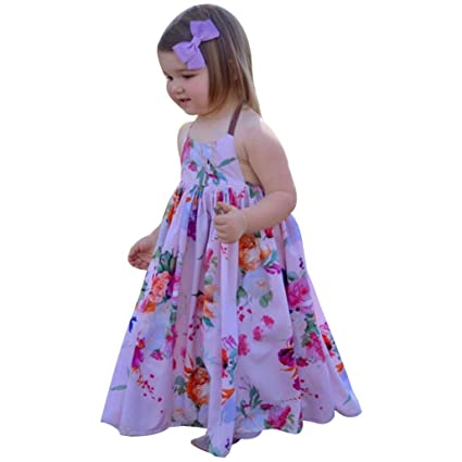 691492e5fd2 Nmch Baby Girl Sleeveless Long Dresses Halter Strap Floral Backless  Princess Dress Clothes (5T