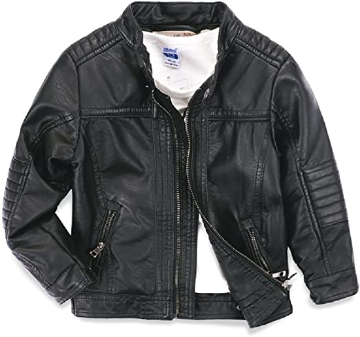 LJYH Girls PU Leather Motorcycle Jackets Childrens Faux Biker Love Type Coats