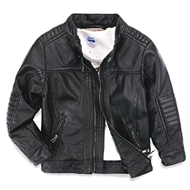 7fe7e80e LJYH Boys Faux Leather Jacket New Spring Children's Collar Motorcycle  Leather Zipper Coat Black 3/
