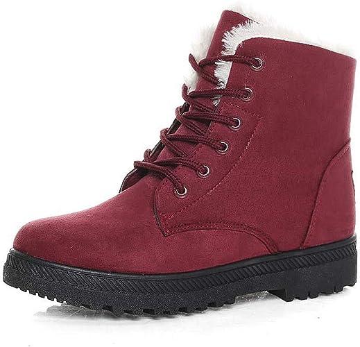Señoras para mujer nieve Botas al Tobillo Zapatos Planos Forrado De Piel Invierno Cálido 6 A