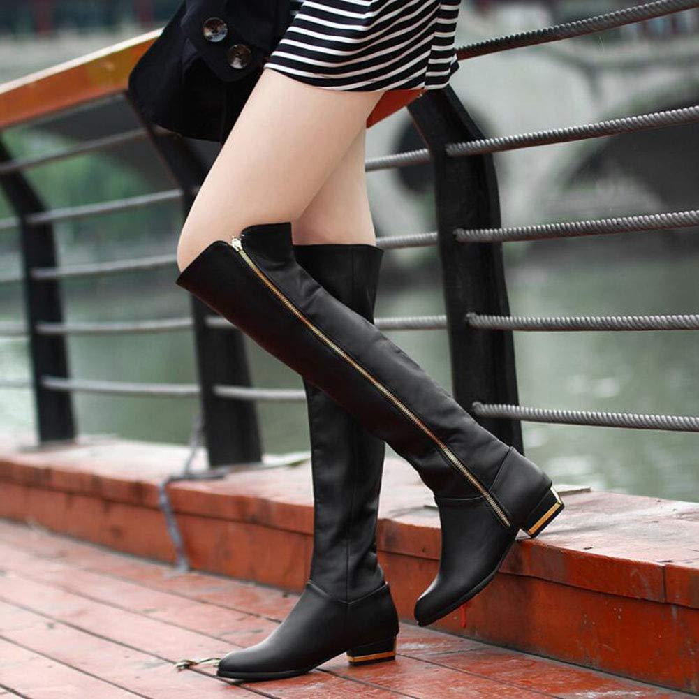 YaXuan YaXuan YaXuan Botas por Encima de la Rodilla, Botas de tacón bajo para Mujer, Botas de tacón para Mujer con tacón Informal para el otoño Invierno (Color : Negro, tamaño : 38) 2165d1