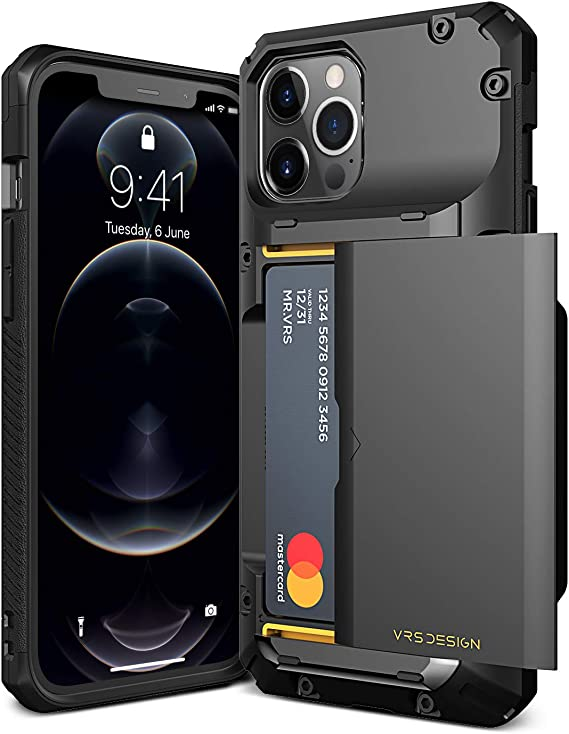 VRS DESIGN Damda Glide Pro Compatible for iPhone 12 Pro Max Case, with [4 Cards] Premium Sturdy [Semi Auto] Credit Card Holder Slot Wallet for iPhone 12 Pro Max 6.7 inch(2020)
