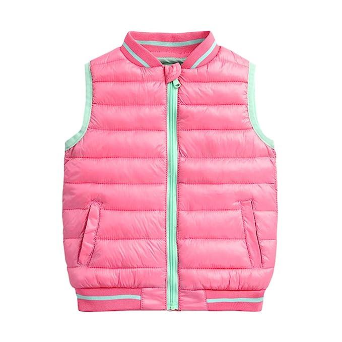 BESBOMIG Niños Chaleco Abrigos Sin Mangas Abajo Chaquetas de Cremallera - Invierno Calentito Impermeable Unisex Gilet Outwear para Niño Niña 3-8 años: ...