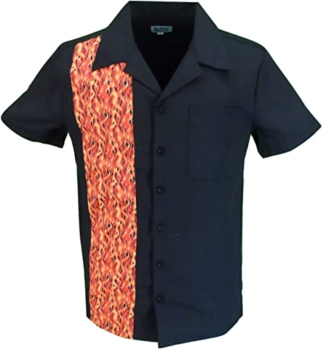 mazeys Retro Rockabilly - Camisas de Bolos Negro Llama Negra L: Amazon.es: Ropa y accesorios