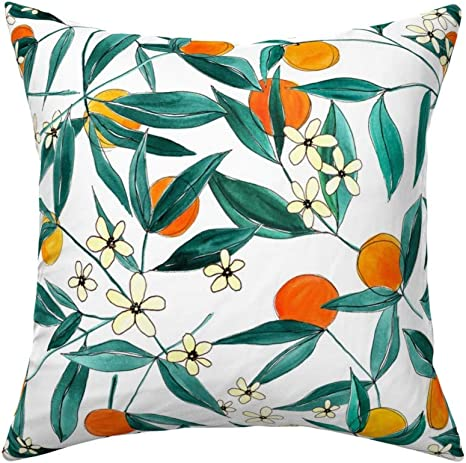 Amazon Com Roostery Throw Pillow Orange Summer Fruits Modern Oranges Fruit Mandarin Joy And Ink Citrus Botanical Print Linen Cotton Canvas Knife Edge Accent Pillow 18in X 18in With Insert Home Kitchen
