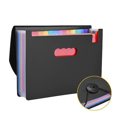 Carpeta archivadora tipo acordeon con 12 Compartimientos, Tamaños A4, Formato horizontal, Organizador de