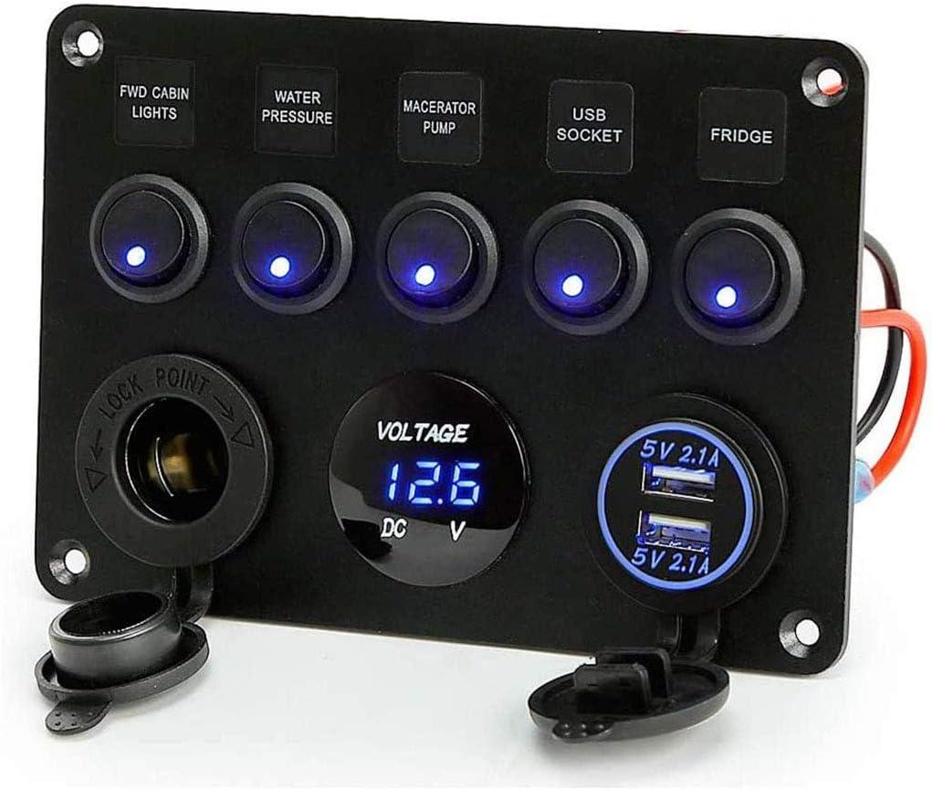 8Gang Blau LED Bootslicht Schalttafel Schaltpanel Boot Dual USB Ladegerät 12-24V