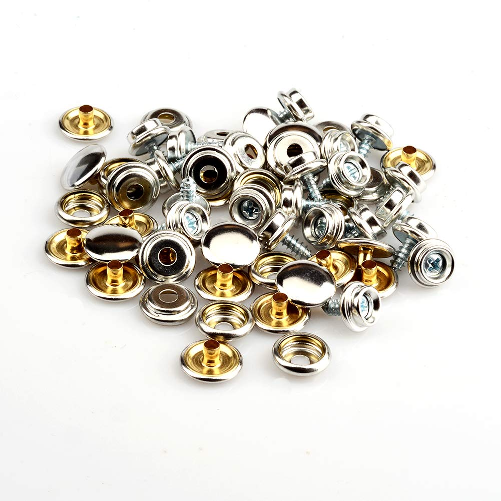 Canvas Snap Kit,Stainless Steel Marine Grade Fastener Screw Snap,3//8 Socket Silver, 10mm 60 Pieces 20 Sets 5//8 Screw