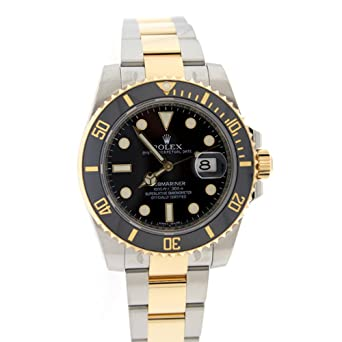 Rolex SUBMARINER DATE Black Dial 18k Yellow Gold and Steel Mens Watch 116613