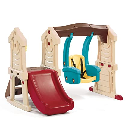 Amazon Com Step2 Toddler Swing And Slide Tan Brown Red Blue Toys