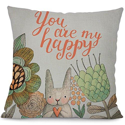 - FOURWHOME Animal Cushion Cover,Cute Cartoon Rabbit Series for Children Decorative Throw Pillowcase for Sofa Car Chair Home Decor 2 450mm450mm