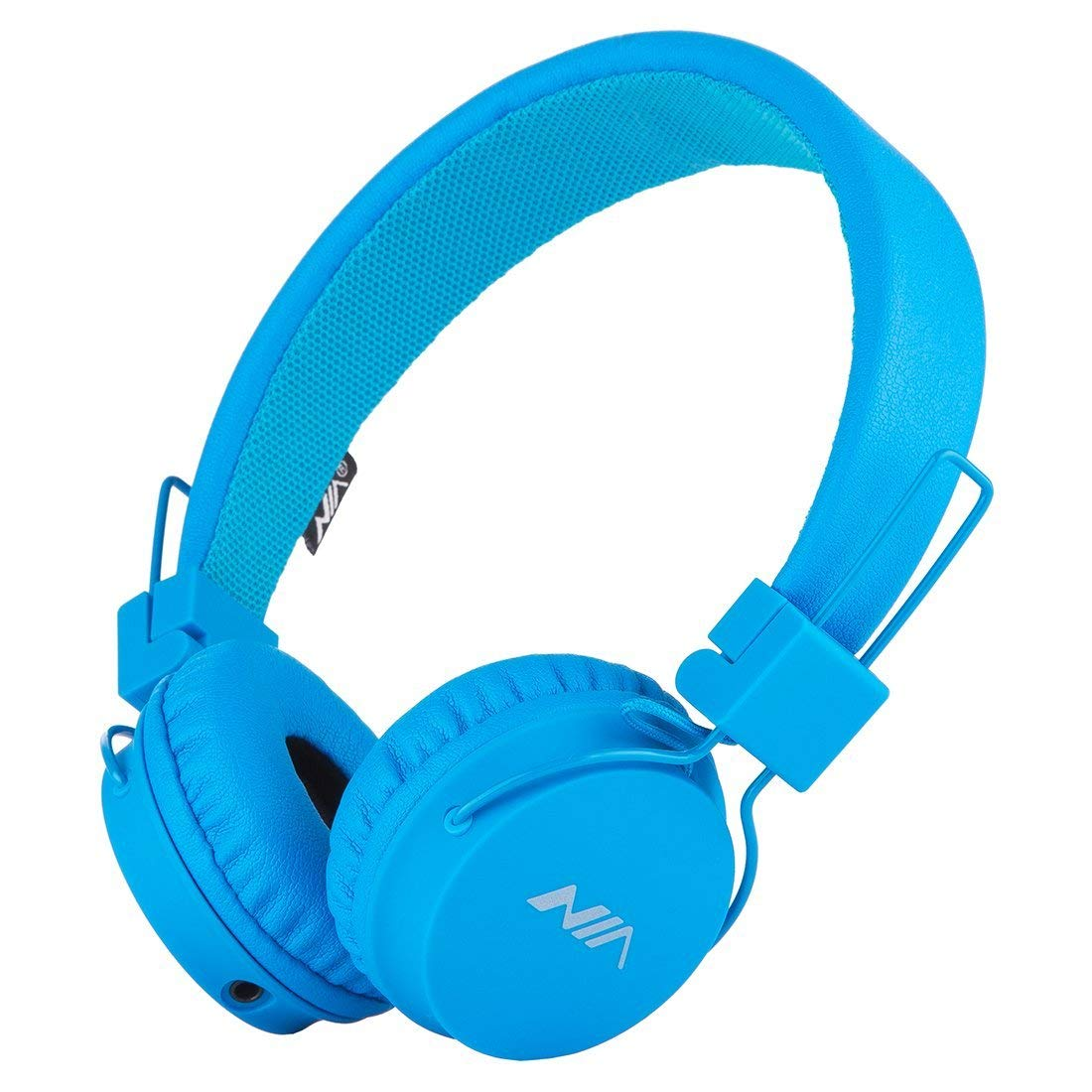 SODEE Folding Stereo Wired Headphones for Kids,Girls Headphones,Boys Headphone,in-line Microphone Remote Control Adjustable Over Ear Headphone Kids Headsets with Soft Earpads for Cellphones(Blue)