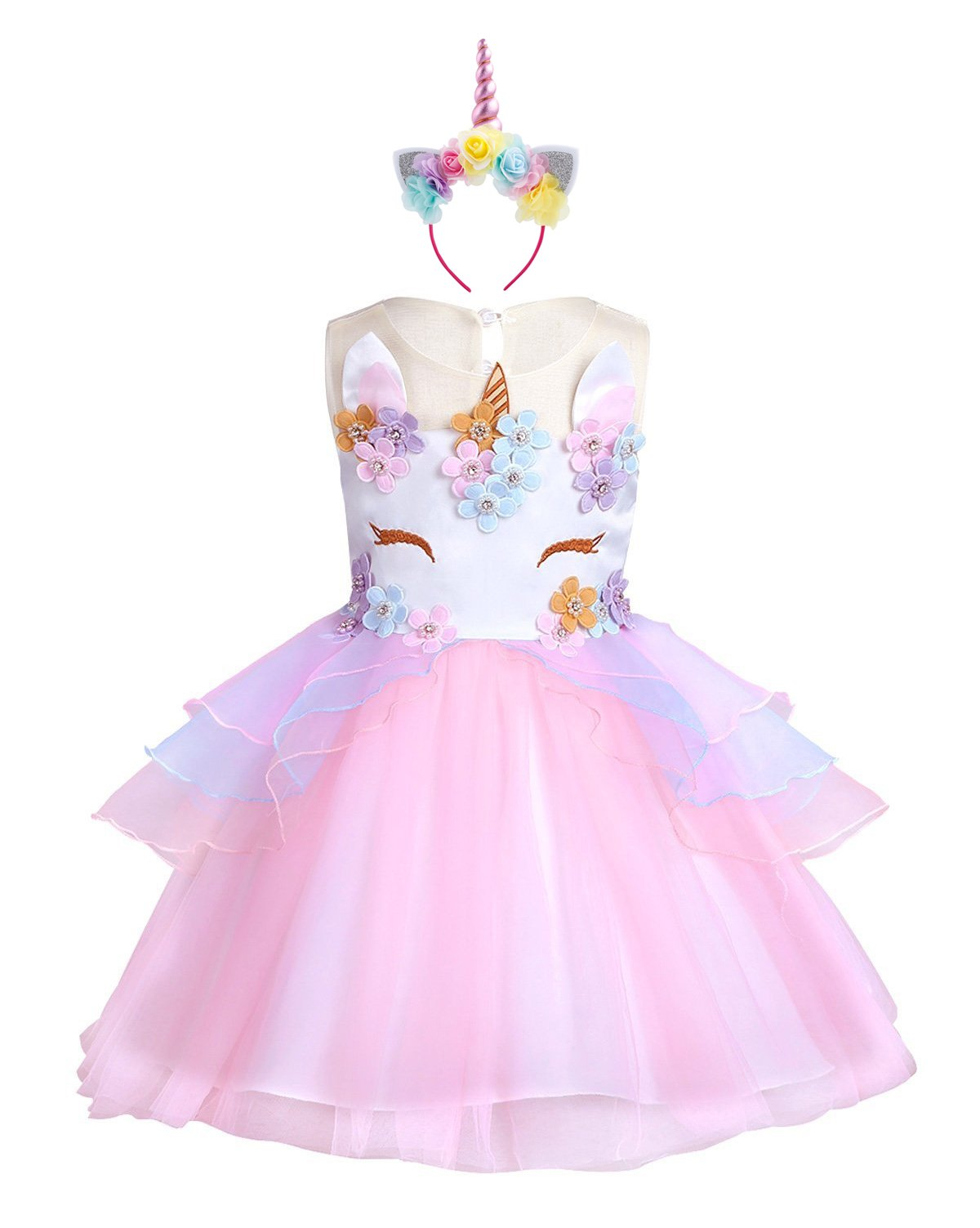KABETY Baby Girl Unicorn Costume Pageant Flower Princess Party Dress with Headband (120cm, Pink)