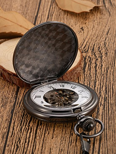 Mudder Classic Smooth Surface Mechanical Pocket Watch with Chain Xmas Birthday Wedding Father Day Gift (Black) by Mudder (Image #2)