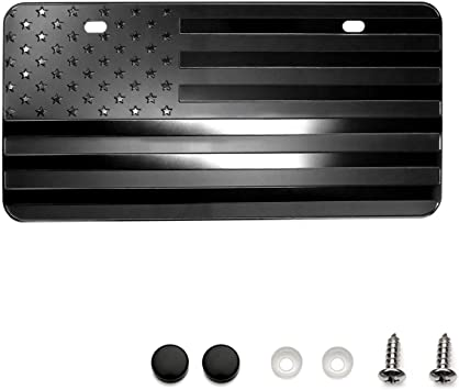 Zone Tech Monochrome USA Flag License Plate Premium Quality Thick Durable Embossed Novelty American Patriotic Flag