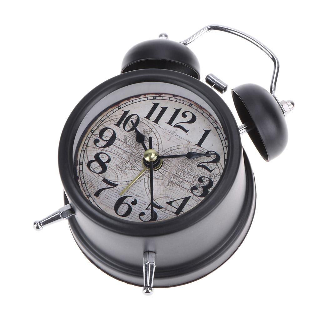 Demiawaking Silencieux Non Tic-Tac R/éveil Twin Bell Retro Mini Table De Chevet R/éveil /À Quartz Analogique Enfants R/éveil Horloge Avec Sonnerie