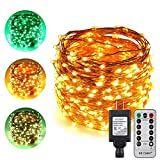 ErChen Dual-Color LED String Lights, 100 FT 300 LEDs Plug in Copper Wire Color Changing 8 Modes Dimmable Fairy Lights Remote Timer Indoor Outdoor Christmas (Green/Warm White)