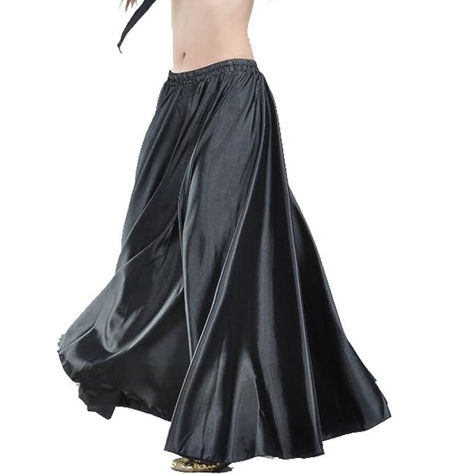 f6e17171b8 Wuchieal Women's Belly Dance Satin Skirt Full Circle Long Sexy Dancing  Costume Lady dress Black