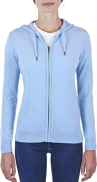CASH MERE.CH 100% Kaschmir Damen Kapuzenpullover | Hoodie mit Reißverschluss
