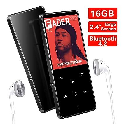 16GB Reproductor MP3 Bluetooth 4.2 SUPEREYE con Pantalla TFT de 2.4 Pulgadas, Reproductor de Música Deporte con Botón Táctil, FM Radio, Grabarora de ...