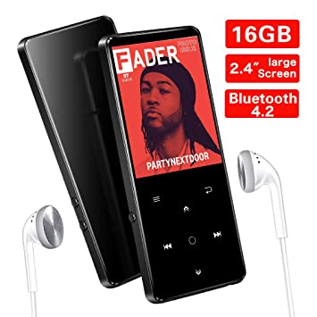 SUPEREYE 16GB MP3 Players, 2 4Inch Large Screen Music Player with Bluetooth  4 2, 600mAh Portable Lossless Sound MP3 Player, Support up 64GB, Music