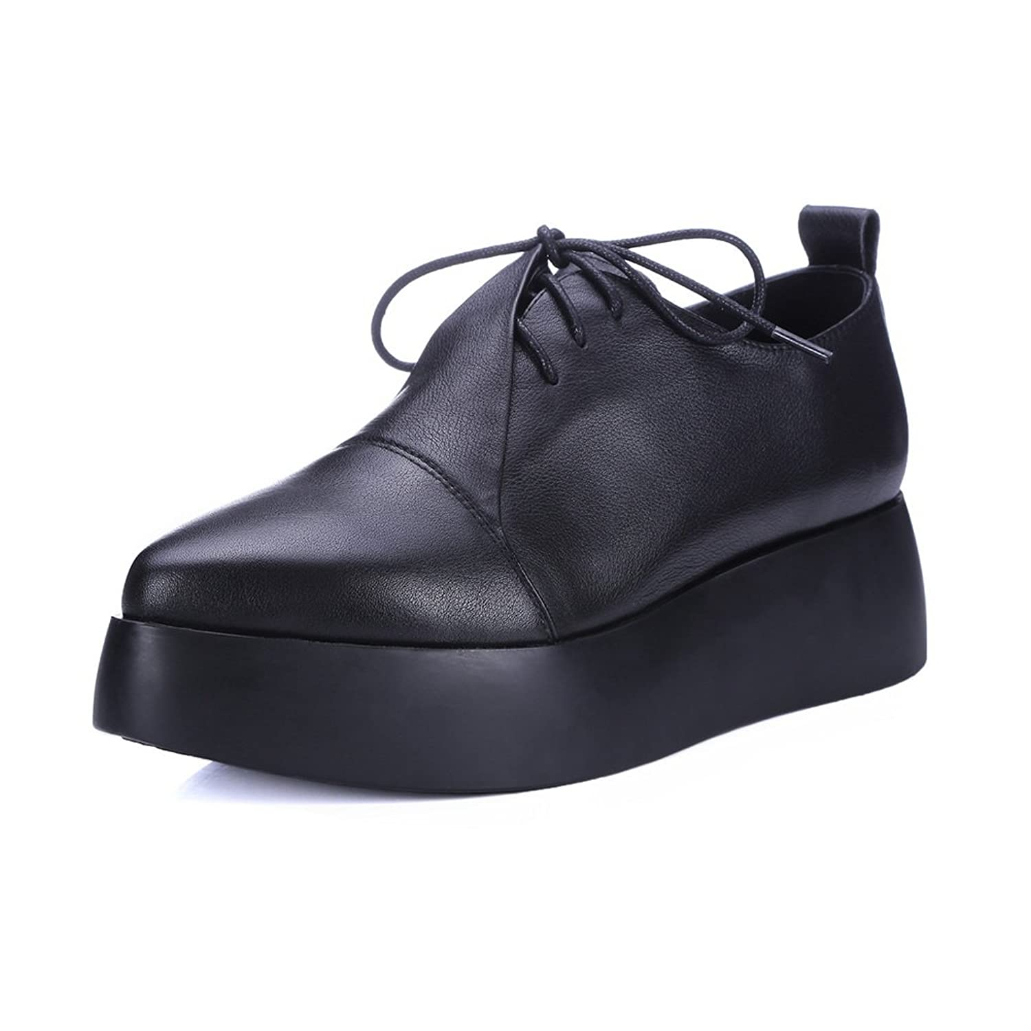 1TO9 Womens Platform Heighten Inside Lace-Up Urethane Oxfords Shoes