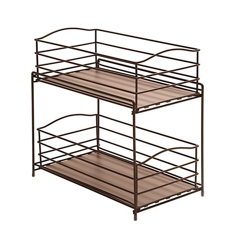 Seville Classics 2-Tier Sliding Basket Kitchen Cabinet Organizer, Bronze SHE14142