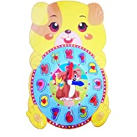 Emob Educational Time Learning Cute Animal Shaped Wooden Clock For Kids with Moveable Hands Features (Dog)